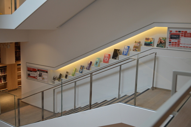 The staircase book displays were inspired by sushi conveyer belt restaurants.