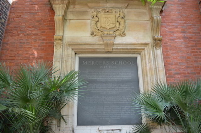 A history of Mercers' School, which formerly occupied the hall.