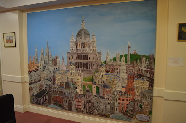 A mural in the basement depicts all the great buildings of Christopher Wren.
