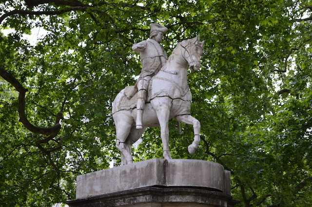SOAP STAR: Some statues are made of bronze, some of stone. This simulacrum of the Duke of Cumberland is made from soap. Yes, soap. It was installed before the Olympics and continues to crack, melt and fall apart in Cavendish Square to this day.
