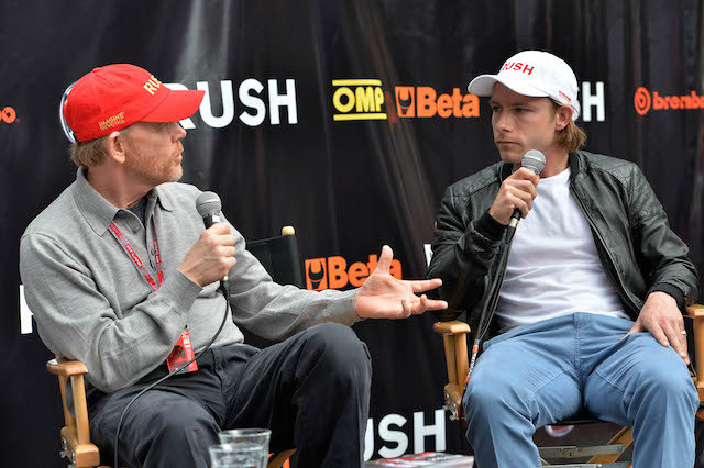 (L to R): Director Ron Howard (USA) and Tom Hunt (GBR), son of James Hunt (GBR), are interviewed on stage to promote the forthcoming release of 'Rush.' Formula One World Championship, Rd6, Monaco Grand Prix, Qualifying Day, Monte-Carlo, Monaco, Saturday 25 May 2013.