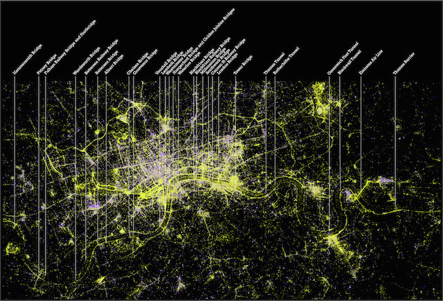 Alex Kachkaev and Jo Wood, giCentre, City University London London Photography Map Pigment print, made 2014 This image maps the places, times and events people choose to make photographs in London. Here we see daytime and night time London superimposed, outdoors and indoors, parks and lakes, evening venues and sporting events. The attraction of the banks of the Thames and its major crossings for photography is made startlingly clear. The data was generated by forty thousand people in the city who, between them, uploaded over one million photographs to the Flickr photo sharing service. Each dot represents the location of a single photograph, identified either automatically via GPS devices built into the camera or smartphone, or added manually by the uploader. The colour of each dot represents the amount of light present in the scene, enabling us to distinguish likely daytime, outside photographs (yellow) from those taken either at night or indoors (purple). The result is a map of photogenic London, a shared image of images, of place and space, of the photographed and the photographer.