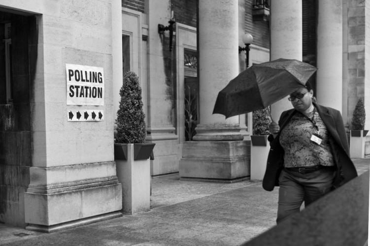 polling in the rain
