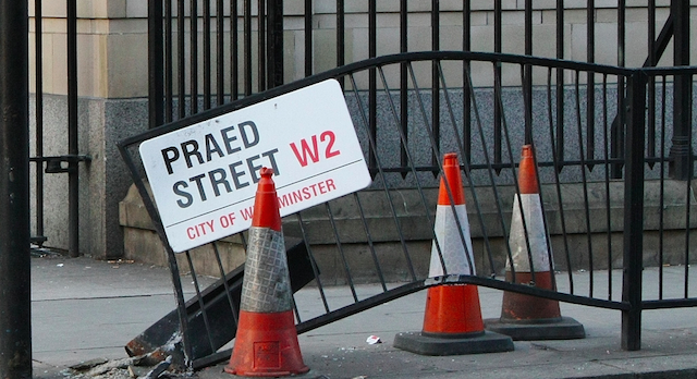 Praed Street has taken a beating in this photo. Fear not though, the sign and fence have since been repaired. Image: acwozhere