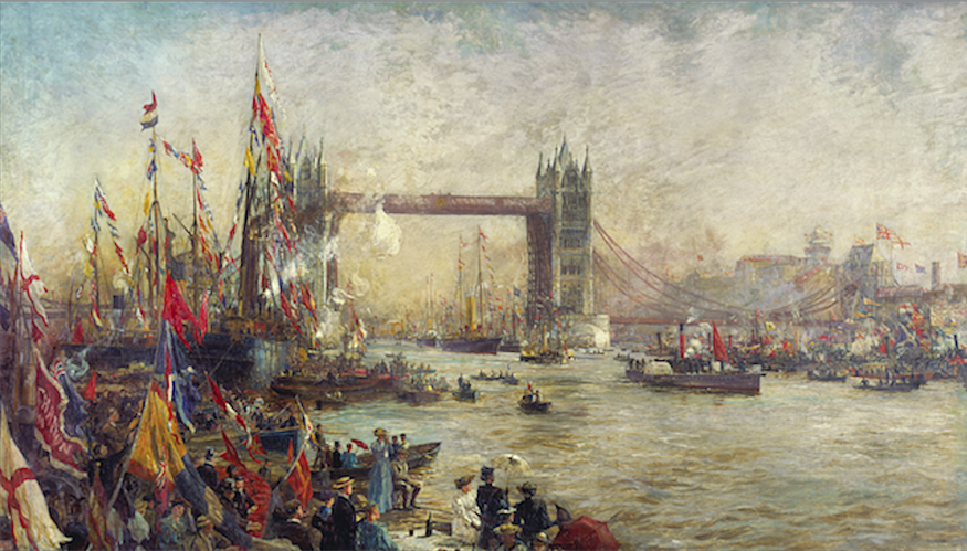 William Lionel Wyllie - the Opening of Tower Bridge, 1894.