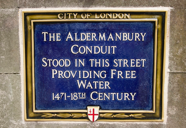 Blue plaque in Aldermanbury/Love Lane, The City of London. Photo by Downtime_1882