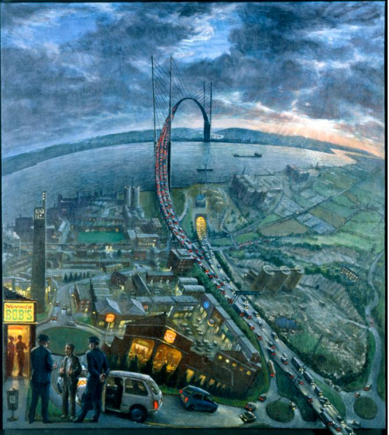 Julian Bell, Arrest at Nevada Bob's. The Dartford Crossing joins Dartford and Thurrock across the River Thames. The crossing forms part of London's ringroad, the M25, and includes two tunnels as well as the Queen Elizabeth II Bridge. Bell's panorama looks south towards Kent from the north bank of the Thames. Although, the title refers to a foreground incident, Bell explained that the real subject is 'the road itself, which goes on forever'.