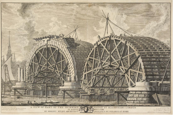 Giovanni Battista Piranesi. A View of Part of the Intended Bridge at Blackfriars. Blackfriars Bridge was built by the Corporation of London between 1760 and 1769.  Its designer was a Scottish architect, Robert Mylne (1733–1811). Like most artists of  the period, Mylne spent time in Rome. Whilst there he met Piranesi, whose prints of  Roman architecture he much admired. As Piranesi never came to London, Mylne  presumably gave him a drawing of the bridge on which to base this print. Health &  Safety was clearly not a concern for Piranesi's acrobatic scaffolders. © Museum of London.