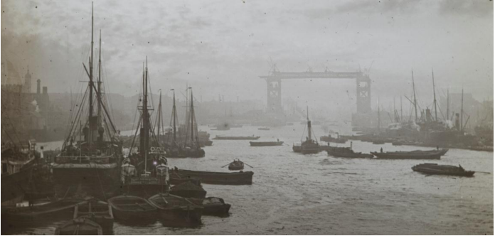 Lower Pool, with Tower Bridge under construction. © Museum of London