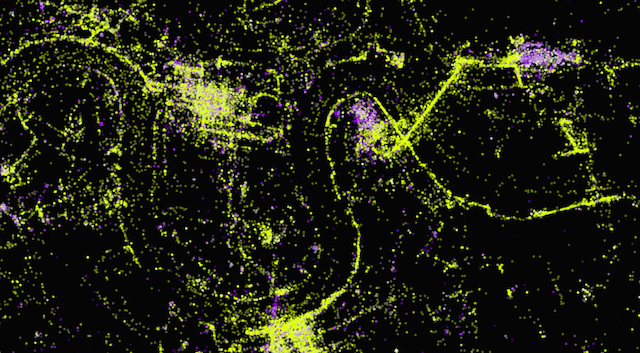 Docklands. Note the abundance of purple dots in North Greenwich - presumably photos from gigs inside the O2.