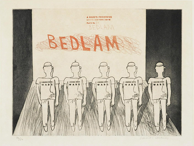 David Hockney, 'Bedlam, a Rake's Progress', 1961-63