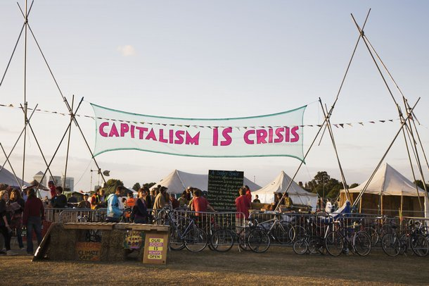 Climate Camp, Capitalism is Crisis banner Used 2009-12 © Immo Klink