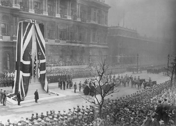 The six London Great War memorials cared for by English Heritage - Unveiling of the Cenotaph November 11 1920, (c) Imperial War Museums (Q31513). This day witnessed the burial of the Unknown Warrior, and the unveiling of a permanent version of the Cenotaph, now executed in Portland stone.