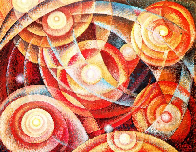 Gerardo Dottori Astral Rhythms, 1916 Tempera on board 52 x 68 cm Private collection, Foligno