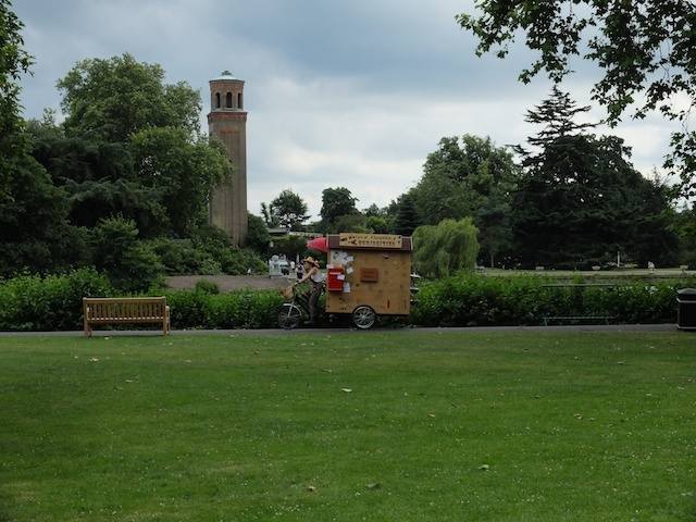 We caught sight of Mrs M's Cart of Curative Curiosities cycling past