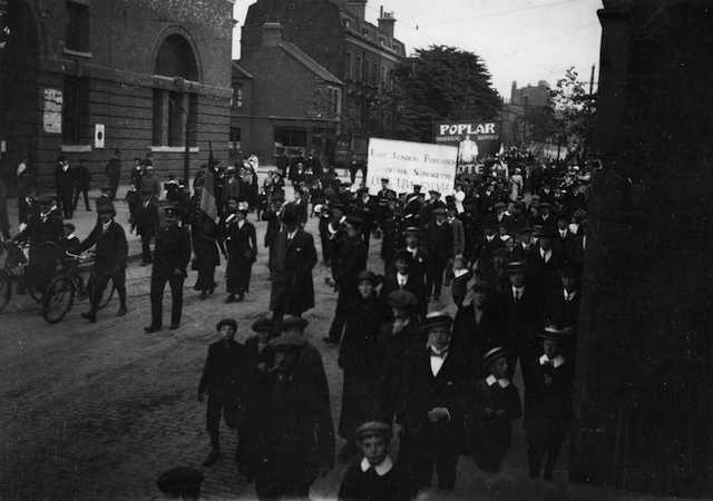 ELFS procession passing Bow Bus Station, June 1914, Norah Smyth. Photo provided by East London Suffragette Festival.