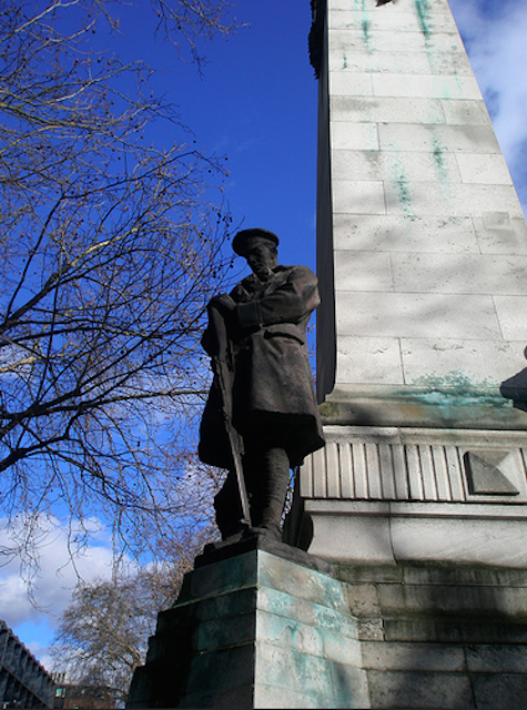 The LNWR War Memorial in Euston commemorates the men of the London & North Western Railway who died in World War One. Other stations, including Paddington and Marylebone, also have memorials to their workers who died at war. Photo by Terry Moran.