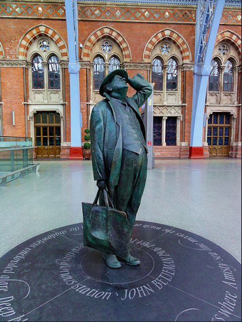 """Oh bother, they've cancelled the 2.39 AGAIN?"" Many Londoners and tourists in St Pancras International hurry past this statue daily without knowing much about it. It portrays former Poet Laureate Sir John Betjeman, and was unveiled when the station reopened in 2007. As well as his literary work, Betjeman is credited with helping save St Pancras station from demolition."