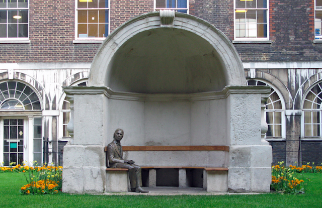 Poet John Keats has swapped the safety of the 'burbs in Hampstead for -- heaven forbid -- south of the river. This first statue of  Keats was unveiled in Guy's Hospital in 2007 by then Poet Laureate Andrew Motion. The alcove in which Keats is perched comes from the Old London Bridge, so double history points for visiting this site. The bronze cast is by sculptor Stuart Williamson.