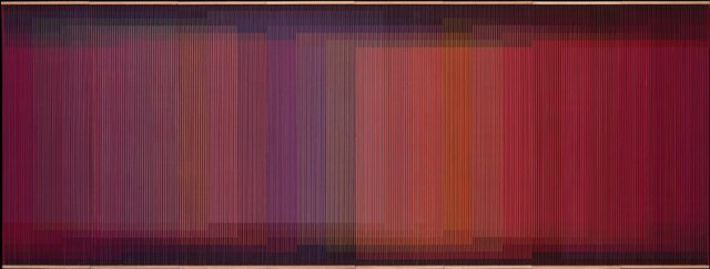 Key. 65  /  Cat. 0    Carlos Cruz-Diez  Physichromie  No. 500, 1970  Casein paint on PVC and acrylic on plywood sheets, 183 x 484 x 8 cm  Coleccion Patricia Phelps de Cisneros   c. ADAGP, Paris and DACS, London 2014.