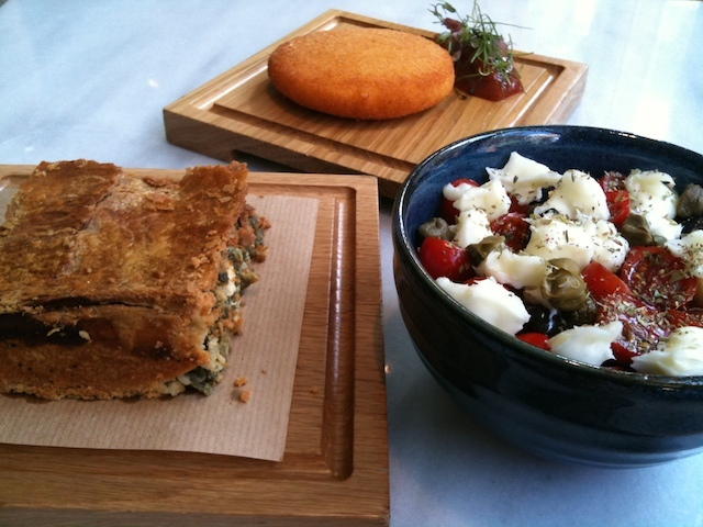 Spinach pie, Metsovone cheese and Dakos Salad