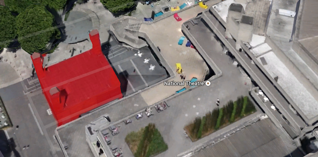 Minor oddity, this one, but the National Theatre's pop-up red thing appears to have only three towers (from any angle). Yet the shadow of the fourth is clearly visible.