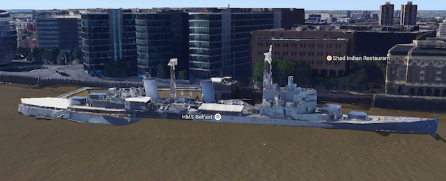 Gloop, gloop. Poor old HMS Belfast appears to be stuck in the mud and sinking fast.