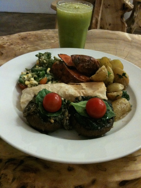 Stuffed portobello mushrooms, feuillete, three salads and kale orangeade