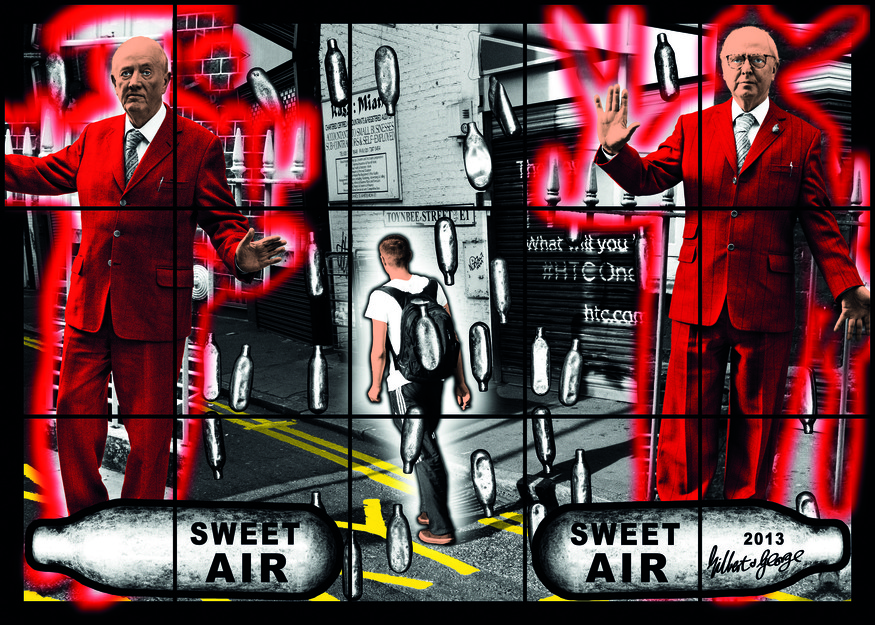 SWEET AIR SWEET AIR 2013 89 x 124 13/16 in. (226 x 317 cm) © Gilbert & George Courtesy White Cube