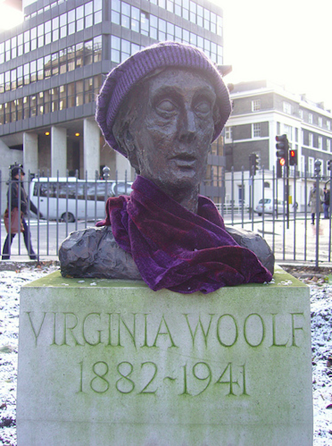 Although Tavistock Square is largely dominated by the Gandhi statue, this bust of Virginia Woolf (normally minus the hat and scarf) also resides there -- so hard to get A Room of One's Own in London these days The author wrote many of her books in her former residence on the square. The bust was sculpted from life in 1931, and was moved to its current home in 2004 by the Virginia Woolf Society of Great Britain.