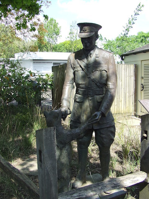 There are actually two statues of Winnie the Pooh at London Zoo (AA Milne's books are inspired by a bear named Winnipeg who used to reside here). This statue shows Winnipeg with Lt Harry Coleburn, the Canadian soldier who gifted her to the zoo. There is also a statue of Winnie the Bear alone. Both have recently been resited within the London Zoo as a result of building work and in preparation for the centenary of the arrival of Winnipeg, later in the summer.