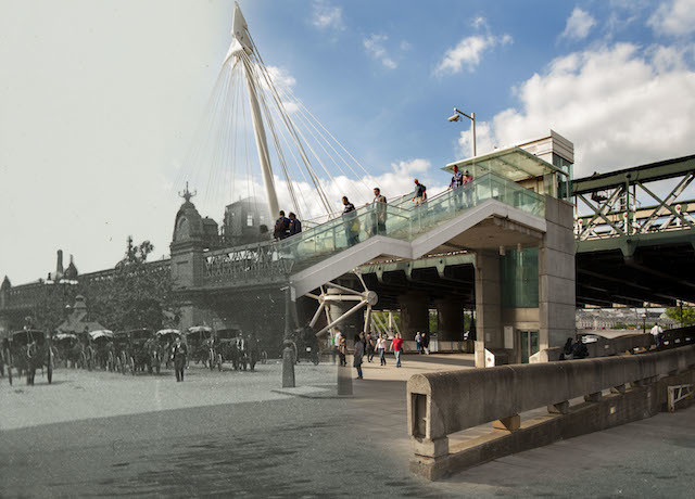 Hybrid Image: Charing Cross Railway Bridge, late 19th century. Today the Museum of London Docklands released 16 hybrid photographs showing 'then and now' views of London and its most iconic bridges across the ages. The 16 ghostly images, which juxtapose historic views with their present day perspective, have been created using photographs showcased in Museum of London Docklands' new art exhibition Bridge, opening on Friday 27 June.