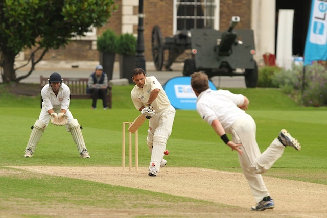 Mark Ramprakash batting for the Sick Childrens Trust cricket team at the All Out For Cricket in the CIty charity cricket match for the Sick Children's Trust Charity at the Honorary Artillery Company in London on Thursday 12th September 2013
