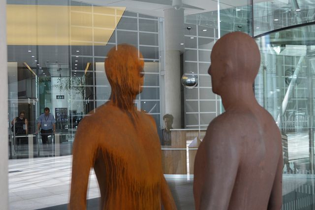 This 2005 double-piece, one inside the office, one outside, can be found in the Regent's Place development on Marylebone Road.