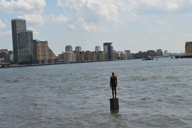 A Gormley in the Thames at Limehouse. This one, called Another Time, appeared in 2013. It was purchased by Sir Ian McKellen, who also part-owns The Grapes pub from which this shot is taken.
