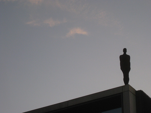 The modern extension of the Roundhouse in Chalk Farm is graced with a rooftop Gormley.
