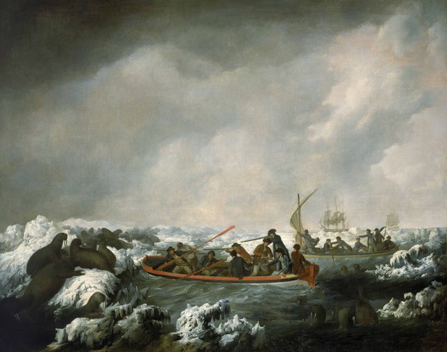 A Party from his Majesty's ships Resolution and Discovery shooting sea-horses, latitude 71 North, 1778 by John Webber, 1784 Oil on canvas National Maritime Museum, London
