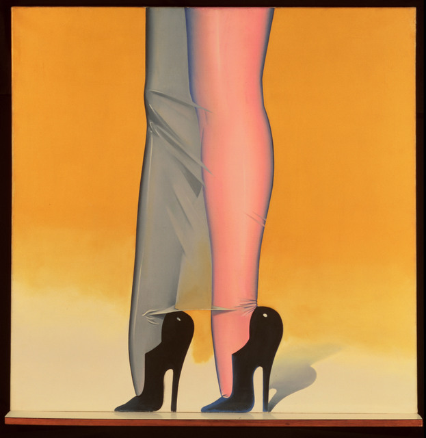 Allen Jones  First Step, 1966   Oil on canvas and laminated shelf, 91.5 x 93x 9.1 cm  Image courtesy of the artist