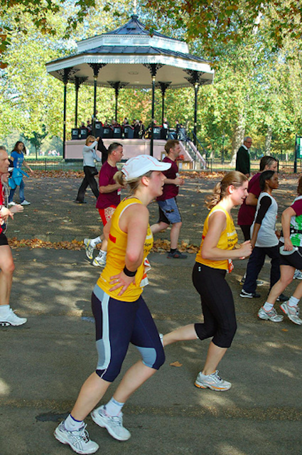 Runners going past the Hyde Park bandstand in the 2008 Royal Parks Half Marathon. By Andrew Smith.
