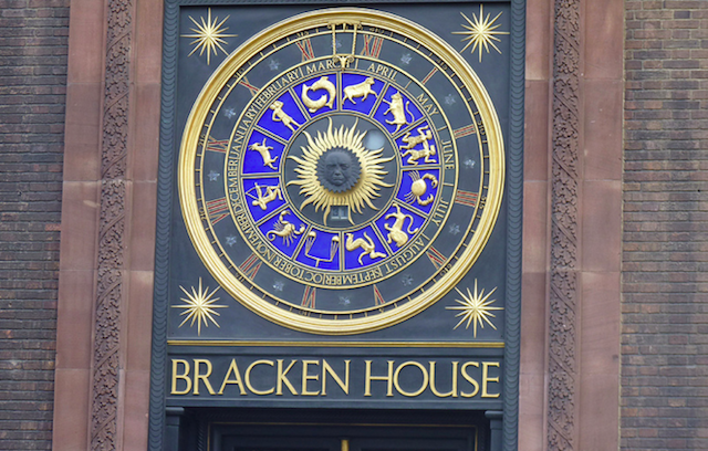 Perhaps the most interesting feature of the astronomical clock outside Bracken House in the City is the face of Winston Churchill at its centre. He was a personal friend of Bernard Bracken, former chairman of the Financial Times, who used to own the building. There are no clock hands -- instead the outer dial with Roman numerals rotates to give the hour -- whatever is in the usual 12 o'clock position is the current time. The month of the year is also shown in this way, and the number directly below the face is the date of the month.