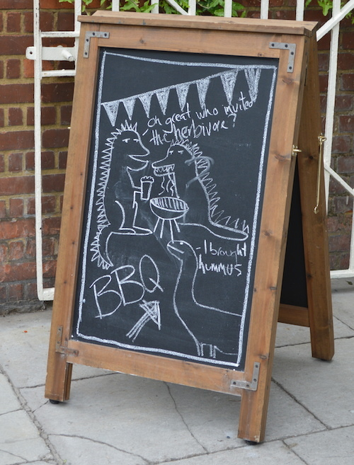 The Crabtree in Fulham is famous for its massive beer garden and summer BBQs. Despite this cartoon, vegetarians are welcome.