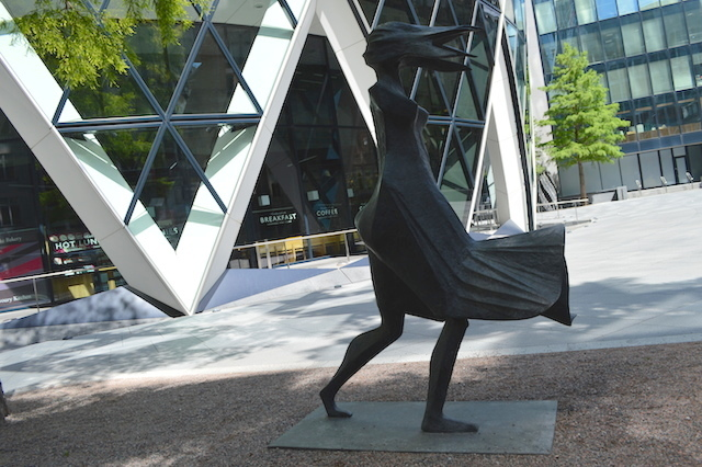 This windswept maiden by Lynn Chadwick is tricky to photograph but easy to admire. You'll find it at the base of the Gherkin.