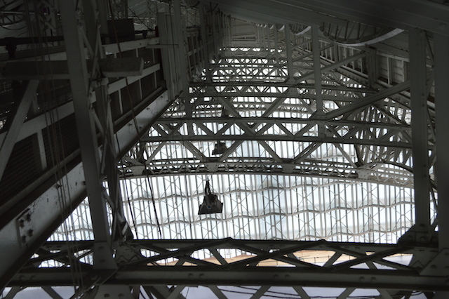 Looking across the internal roof space of the main hall.
