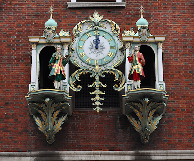 The Fortnum & Mason clock was added to the front of the Piccadilly building in 1964, and the two men represent the store's founders, Mr Fortnum and Mr, yep, Mason, who appear once an hour. We can't comment on the likeness to their real life counterparts, but what we do know is that the bells on the clock came from Whitechapel Bell Foundry, where Big Ben was also cast. There are 18 bells in total, which chime every 15 minutes. Apparently the clock weighs three tonnes, and the front of the building had to be reinforced before it was hung. To give a better idea of scale, each of the men is 4ft high.