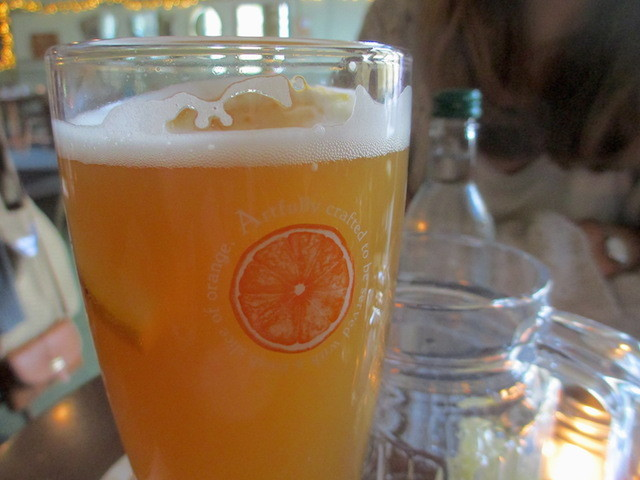 Blue Moon wheat beer, with slice of orange. Try it, you might just like it.