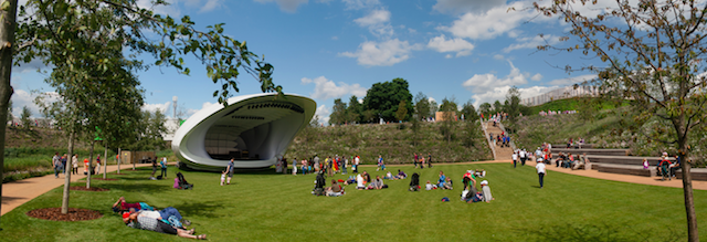 The Olympic Park bandstand during the London 2012 games, by Lee Wilshire.
