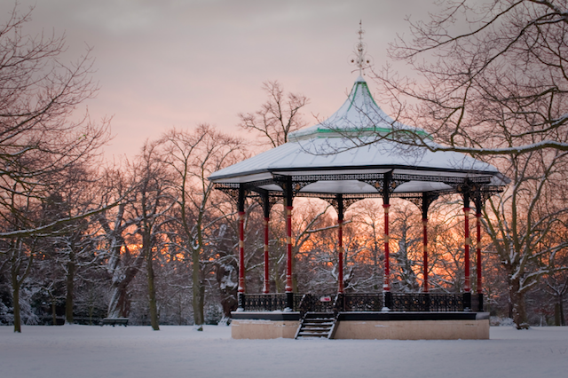 Greenwich Park in the snow, by Peter Hayward.
