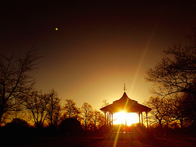 Greenwich bandstand at sunset by Rob Emes.
