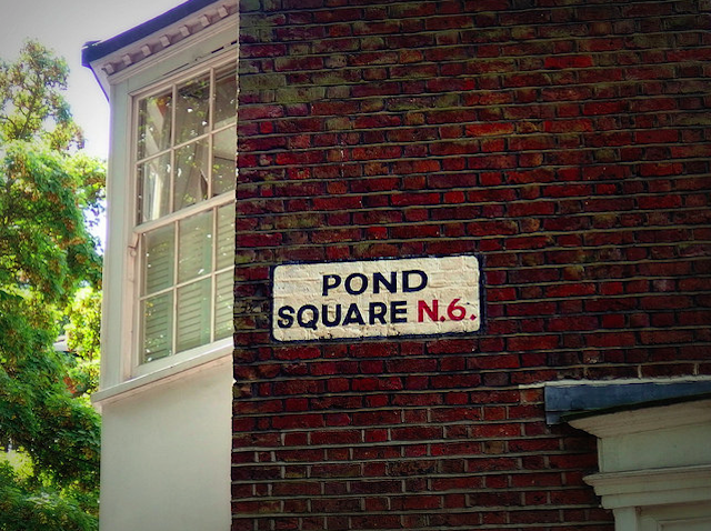 Pond Square sign in Highgate, by HoosierSands