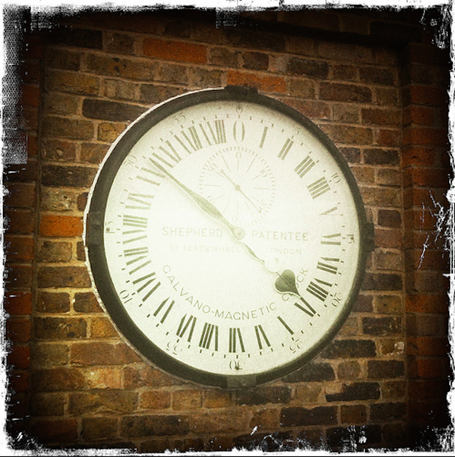 It wouldn't be right to do a feature about London timepieces without mentioning Greenwich. The most unusual feature of the Shepherd Gate Clock is that it has a 24 hour dial. Mounted on the wall outside the Royal Observatory, it is thought to have been the first clock to display Greenwich Mean Time to the public (although to this day, it doesn't display daylight saving time). It was originally controlled by electric pulses from a master clock inside the building, but the master clock is no longer in use and this one is controlled by a quartz mechanism. Shepherd refers to Charles Shepherd Junior, who made and installed the clock in 1852.